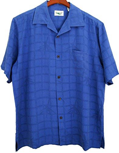 Good-Life-Mens-Silk-Camp-Shirt-Blue-Hawaiian-Casual-Short-Sleeved