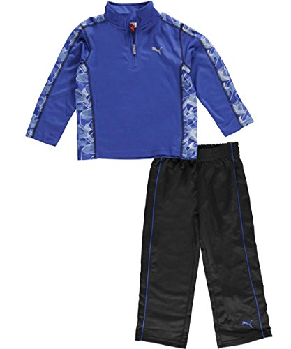 Puma Little Boys 2 Piece Set, Long Sleeve Shirt and Track Pants (3T, Competition Blue)