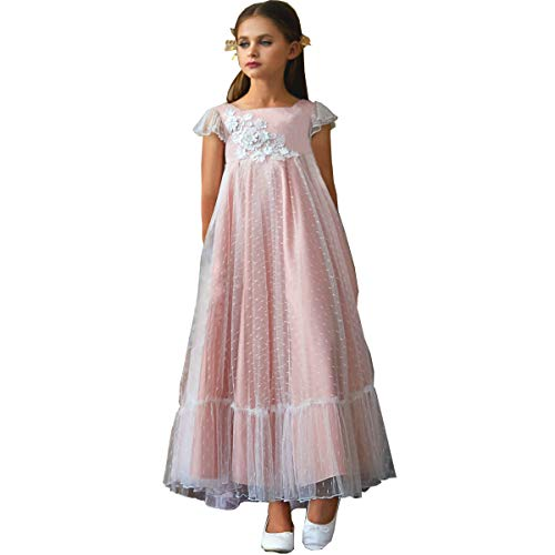 TYHTYM White Flower Girl Dresses Lace Appliques Flutter Sleeves Pageant Wedding Party First Communion A-line Gown 2-11Y ()