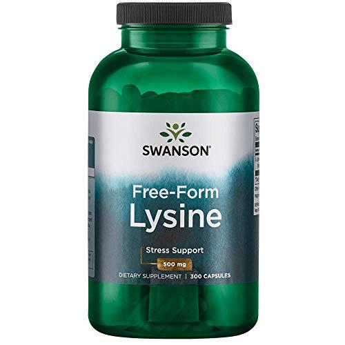 Swanson Amino Acid Free-Form L-Lysine 500 Milligrams 300 Capsules
