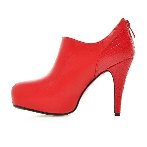 AllhqFashion Mujeres Puntera Redonda Tacón de aguja Cremallera Botas Rojo