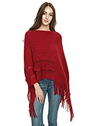 Ferand Women's Cable Knit Ruffle Poncho Sweater with Fringed Hems