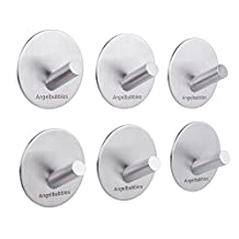 Angelbubbles Self Adhesive Hooks for Hanging 6pcs/pack 3M Stickers SUS 304 (Round Diameter 1.97inch)