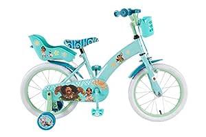 Bicicleta Niña Disney Vaiana 16 Pulgadas Ruedas Extraíbles la Cesta y Asiento Trasero de la Muñeca Menta Verde