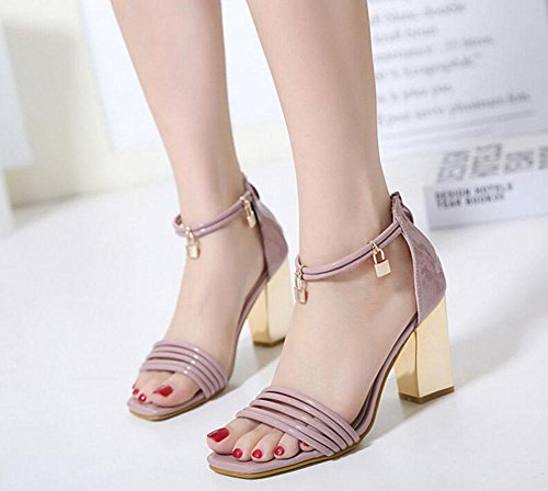 Square Pumps Shoes Women Heeled Shoes High Toe Court Hollow Heels Simple Sandals Summer Sandals Pink Open Head GLTER wUYOqq