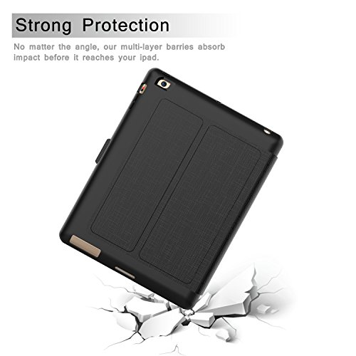 Qelus iPad 2 Case, iPad 3 Case, iPad 4 Case, Premium Leather Magnetic Stand Folio iPad Case Cover with Auto Wake/Sleep Protective Case for Apple iPad 2/3/4(9.7 inch released before 2013) (Black) by Qelus (Image #6)