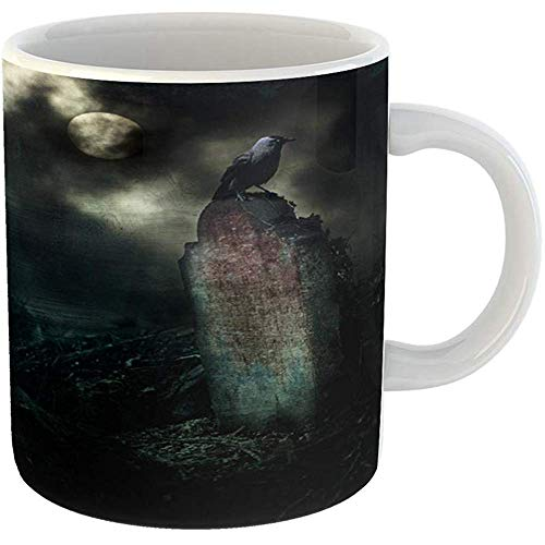 Funny Coffee Tea Mug Gift 11 Ounces Funny Ceramic Poe Crow on Gravestone in Horror Halloween Setting Allen Gifts For Family Friends Coworkers Boss Mug ()