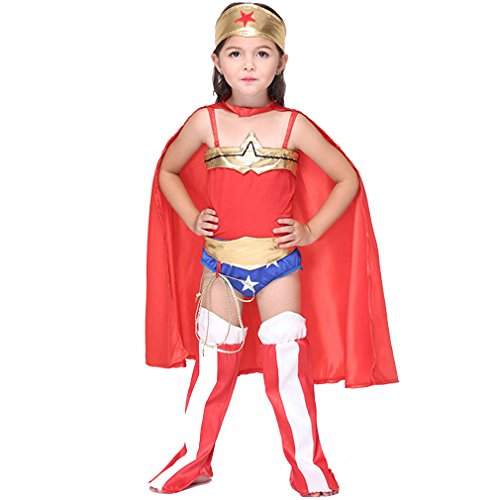 PNBB Girls Superman Costume Cosplay Fancy Dress Excluding Hand Prop,X-large Size (Superman Fancy Dress Costume)