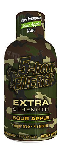 5 Hour Energy Sour Apple Extra Strength Shots, 4 count per pack -- 12 per case. by 5 Hour Energy