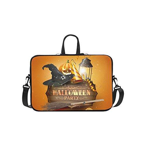 Modern Halloween Party Flyer with Old Sign Black L Pattern Briefcase Laptop Bag Messenger Shoulder Work Bag Crossbody Handbag for Business Travelling -