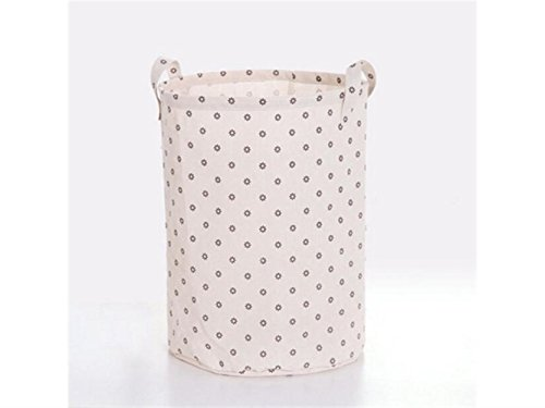 Gelaiken Lightweight Flower Pattern Tote Storage Basket Storage Bag Cotton and Linen Storage Box Sundries Storage Bucket(White) by Gelaiken
