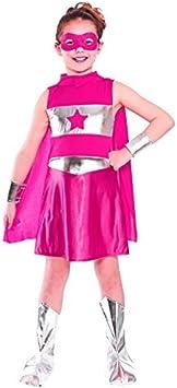 Disfraz de superheroína para niña, color rosa. Tamaño medio: 5-7 ...