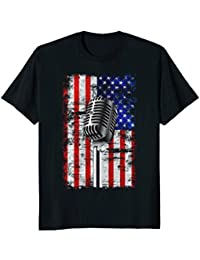 Vintage Grunge Microphone on American Flag Background