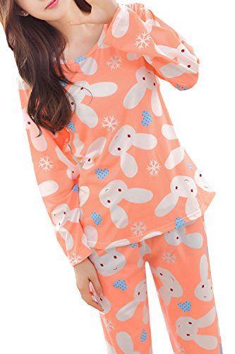 Lasher Big Girls' Panda Pattern Cute Long Sleeve Pajamas Nightwear Sleep Sets (Big Girls Medium/12, Orange) ()