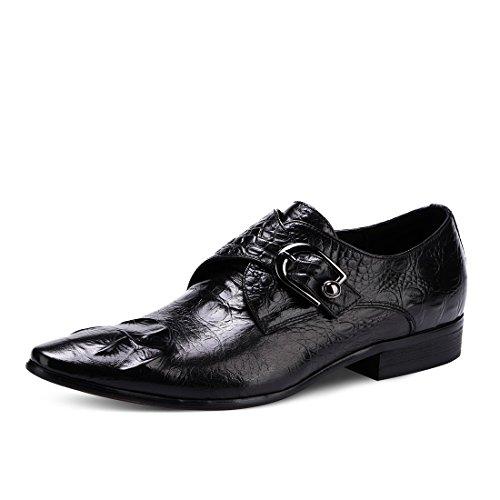 HUAN Scarpe da Uomo in Pelle Primavera Autunno Moda Stivali Comfort Oxfords Stringate per Lavoro Formale Casual Business Nero, Caffè A
