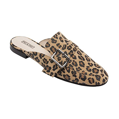 - PIC/PAY Dacia - Women's Leather Buckle Mule - Backless Slip-on Flat Leather Loafer Tan/Black Leopard Suede 5M