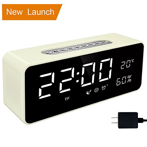 "Orionstar Alarm Clock Radio, Bedside Digital Alarm Clock Sleep Timer with Bluetooth Speaker 8"" LED Screen Display Thermometer AUX MicroSD USB iPhone Android Compatible Model S1 with Wall Charger White"