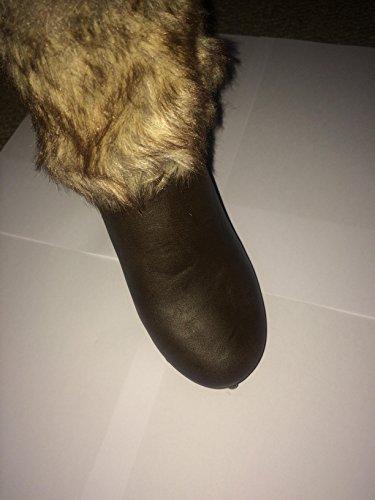 Moow Marron Détails Cloutés poignets en fourrure cheville bottes