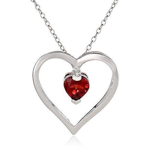 Heart garnet necklace amazon sterling silver garnet open heart pendant necklace 18 mozeypictures Images