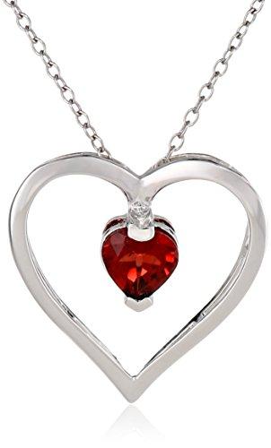 Sterling Silver Genuine Garnet Open Heart Pendant Necklace, 18