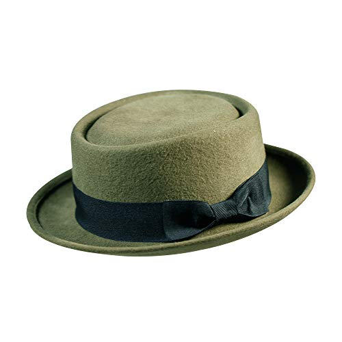 Pork Pie Hat-100% Wool Felt Men's Porkpie Hats Flat Mens Fedora Top Classic Bowknot Bowler St. Patrick's Day Green Cap Valentine's Gifts(M:7 1/8-22 3/8