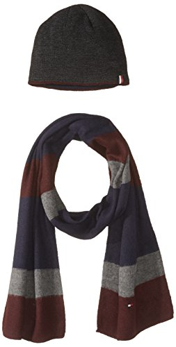 Tommy Hilfiger Men's Brushed Color Block Hat and Scarf Set