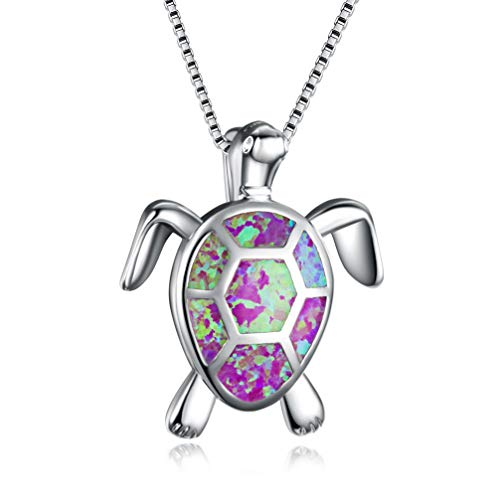 Hermosa Mom Gifts 925 Sterling Silver Sea Turtle Blue Opal Women Pendant Necklace Earrings (Turtle Necklace-Purple)