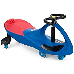 The sleek, innovative design of The Original PlasmaCar features a patented safety seat, upgraded Polyurethane (PU) wheels that match the color of the car (Red on Red, Blue on Blue), and is kid powered; kid approved! Sit with both feet on the ...