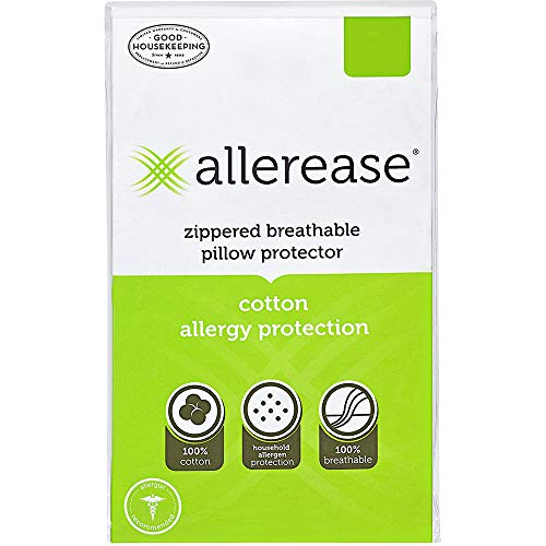 AllerEase 100% Cotton Allergy Protection Pillow Protectors - Hypoallergenic, Zippered, Allergist Recommended, Prevent Collection of Dust Mites and Other Allergens, Standard Sized, 20