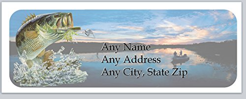 150 Personalized Address Labels Bass Fishing Fish Jumping Out (ac 893)