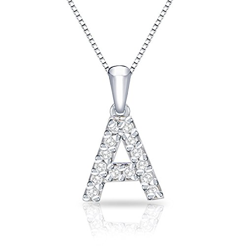 Diamond Wish 14k White Gold Letter A Diamond Initial Pendant Necklace (1/10cttw) 18-inch Box Chain
