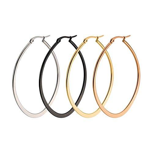 4 Pairs Stainless Steel Teardrop Hoop Earrings Set for Women Gold Silver Black 30-50mm (30MM) ()