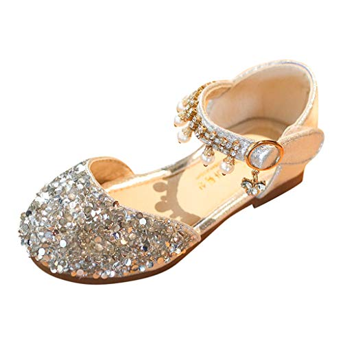 XLnuln Toddler Kids Baby Girls Pearl Crystal Sequins Party Princess Shoes Sandals Comfortable Casual Flats Beach Sandal Silver ()