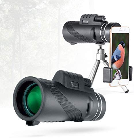 Gift Love Monocular Telescope 12×50 High Power Prism Monocular HD Vision, Waterproof Monocular Scope with Compact Tripod,BAK4 Prism Monoculars, Compatible to Any Smartphone, Good for Outside Adventur