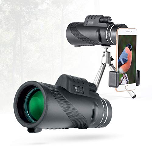 Gift Love Monocular Telescope 12×50 High Power Prism Monocular HD Vision, Waterproof Monocular Scope with Compact Tripod,BAK4 Prism Monoculars, Compatible to Any Smartphone, Best for Outside Adventur