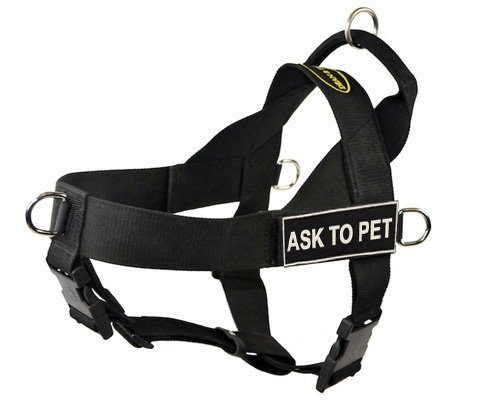 Dean & Tyler D&T UNIVERSAL ASK2PET BK-XL DT Universal No Pull Dog Harness, Ask To Pet, X-Large, Fits Girth, 91cm to 119cm, Black by Dean & Tyler