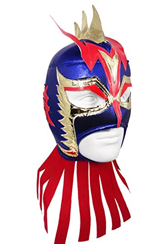 Lucha Dragons Costumes (ULTIMO DRAGON Adult Lucha Libre Wrestling Mask (pro-fit) Costume Wear - Blue)