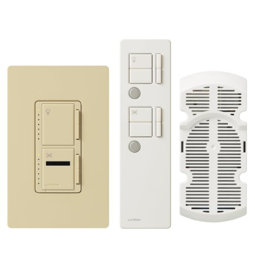 (Lutron Maestro IR Fan Control and Light Dimmer for Incandescent and Halogen Bulbs, with IR Remote Control and Wallplate, Single-Pole or Multi-Location, MIR-LFQMT-IV, Ivory)