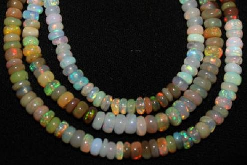 1 Strand Ethiopian Opal Beads Nice Flashy Quality Petite 4-6mm Rondelle Loose Strand Semiprecious Gemstones New Year Sale. (Rosary Beads Semiprecious)