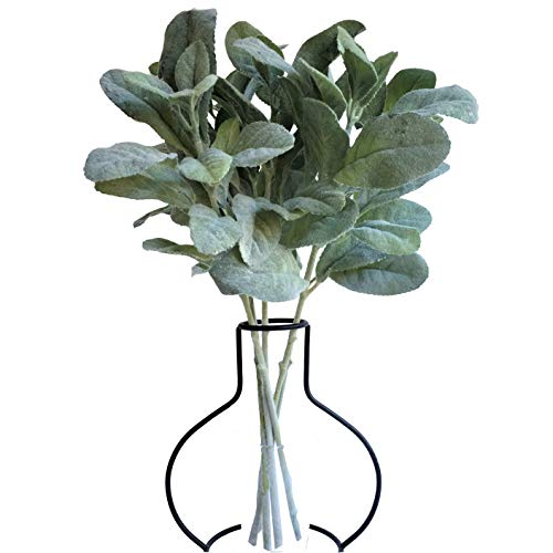 - APHER 5 PCS Artificial Flocked Lamb's Ear Leaf Fake Greenery for Wedding Home Diy Decor