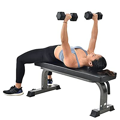 Finer Form Gym Quality Flat Bench with Wheels and Handle for Multi-Purpose Weight Training and Ab Exercises