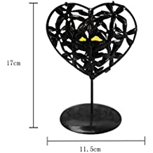 Tuscom Love heart Shaped Candlestick, Hollowed Iron Stencil Candle Holder Stands Platform ,Home Holiday Adornment decor Valentine's Day Gift (Black, 5.1×0.9×3.45 Inch)