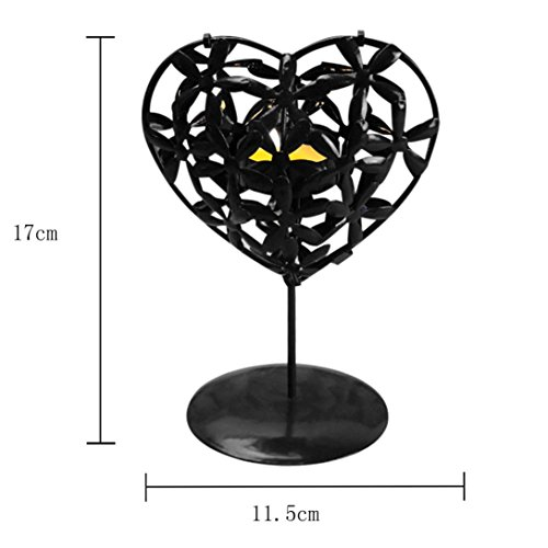 Tuscom Love heart Shaped Candlestick, Hollowed Iron Stencil Candle Holder Stands Platform ,Home Holiday Adornment decor Valentine's Day Gift (Black, 5.1×0.9×3.45 (Love Heart Candle)