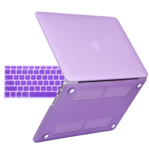 HDE MacBook Pro 13-inch Retina Case with Keyboard Cover 2-in-1 Ultra Slim Hard Shell Protective Snap On Cover Fits Models A1425 / A1502 (2012-2015 Release) - Matte Purple
