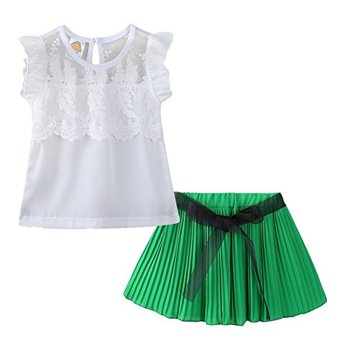 (LittleSpring Little Girls Summer Outfit Chiffon Floral Top and Pleated Skirt Set Green Size 5T)