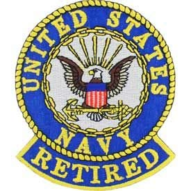 USN, United States Navy Retired - Embroidered Patches, Premium Quality Iron On Patch - 3.5