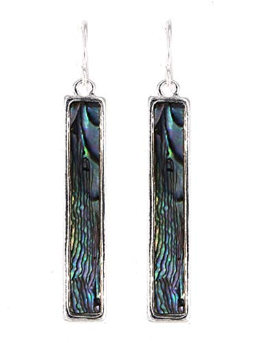 4EverSparkles Abalone Rectangle Earrings B9 Dangle Geometric Silver Tone