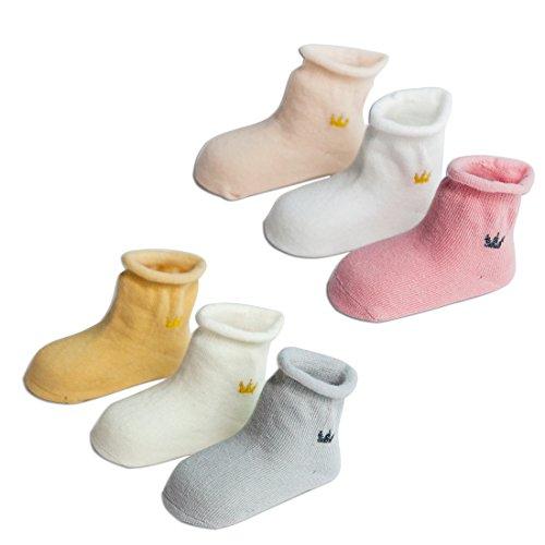 TRAVEL BUS Unisex-Baby Newborn Soft Cotton Infant Socks(6 Pack Socks) (S/6-12 M, Solid)