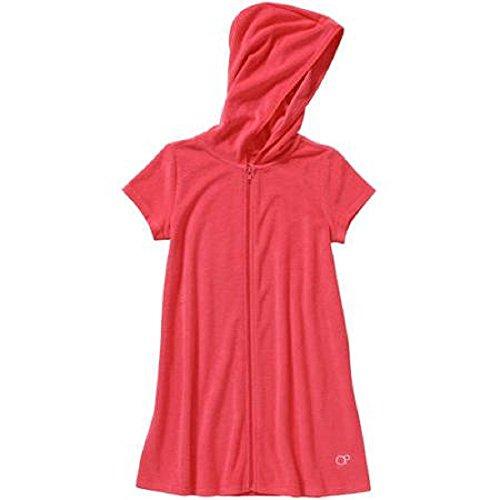 OP Girls Zip-Up Terry Swimwear Cover Up (x-small 4/5, Glow Orange)