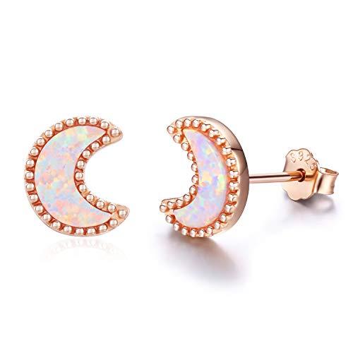 Cuoka Moon Earrings, Moon Jewelry 18K Gold Plated Sterling Silver Moon and Star Earrings Opal Earrings for Women Girls